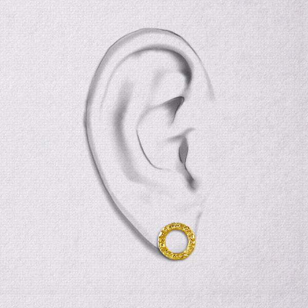 Da Carved Earring - Yellow Gold