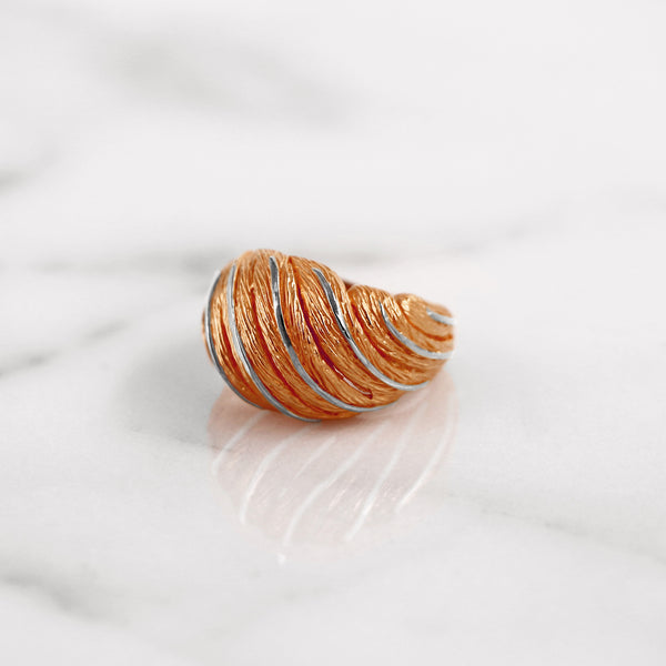 Da Feather Torus Ring - Rose Gold & White Gold
