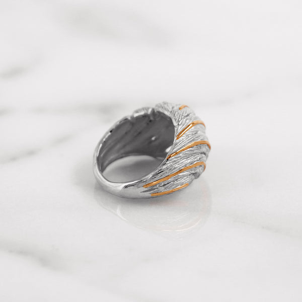 Da Feather Torus Ring - White Gold & Rose Gold