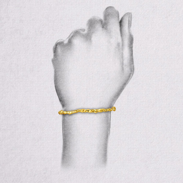Elegant yellow gold paper bangle gift present 18K 14K