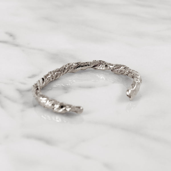 Statement sterling silver paper bangle
