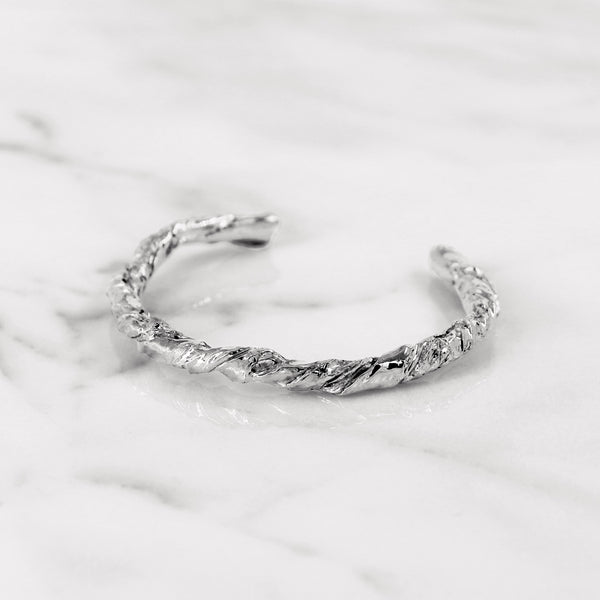 Statement white gold paper bangle