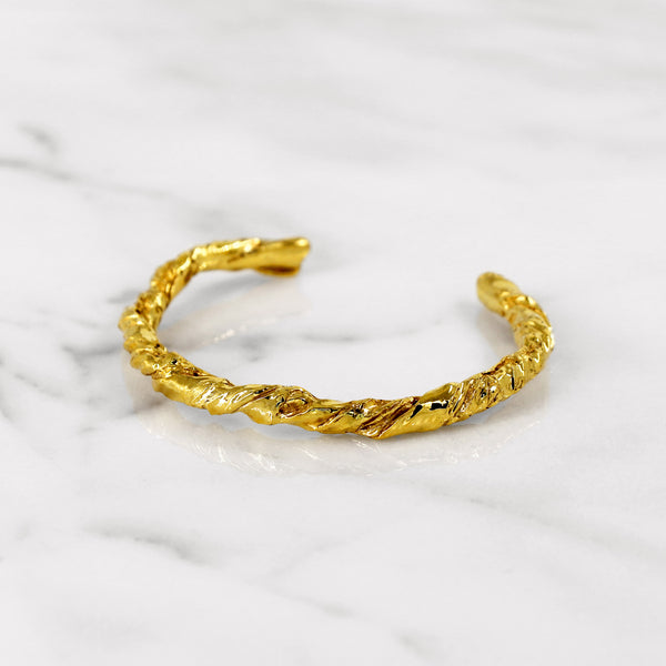 Statement yellow gold paper bangle gift present 18K 14K