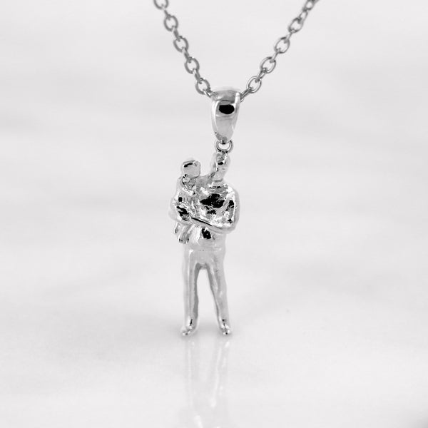 Da Father & Baby Pendant - White Gold