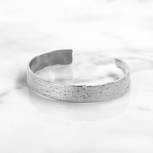 Da Tree Bark Bangle - White Gold