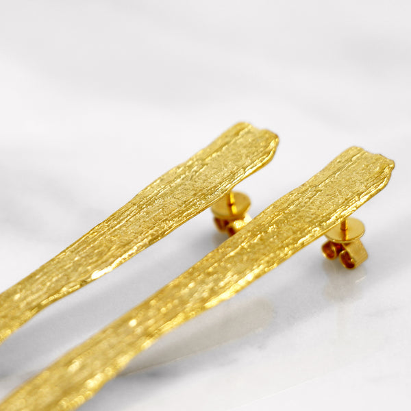 Da Tree Bark Earring - Yellow Gold