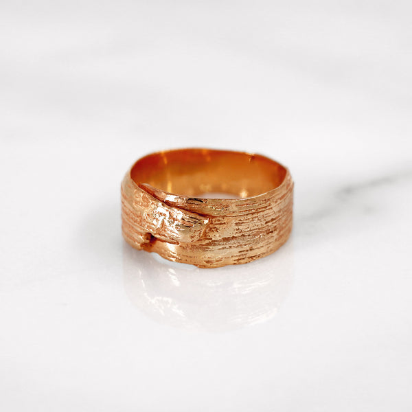 Da Tree Bark Ring Female - Rose Gold