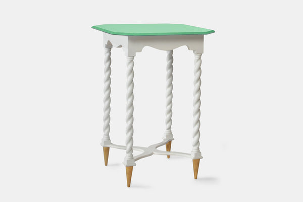 Vintage White Twist Accent Table