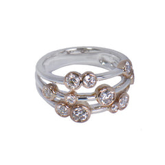 18ct White & Rose Gold Diamond Scatter Ring, 1.0ct