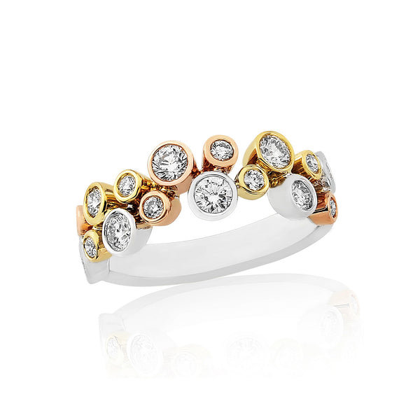 18ct White, Yellow and Rose Gold Scatter Ring, 0.75ct