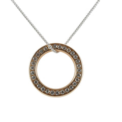 18ct Rose Gold Diamond Circle Pendant, 1.25ct