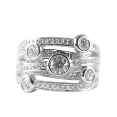 18ct White Gold Diamond Scatter Ring, 0.96ct