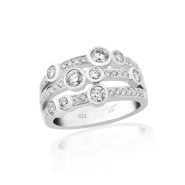18ct White Gold Diamond Scatter Ring, 0.72ct