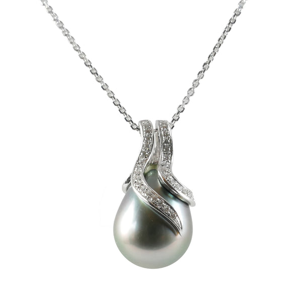 18ct White Gold Tahitian Pearl & Diamond Pendant, 0.12ct