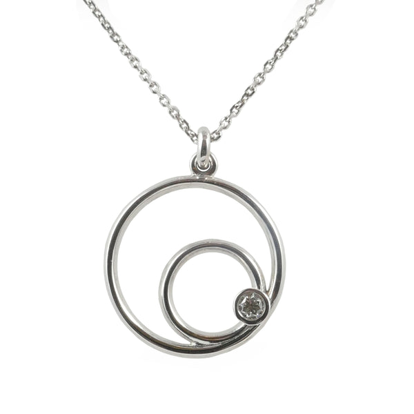 18ct White Gold & Diamond Eclipse Pendant, 0.06ct