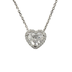 Platinum Set Heart Shaped Diamond Pendant, 1.31cts