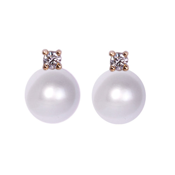 18ct White Gold & Diamond South Sea Pearl Stud Earrings, 0.10ct