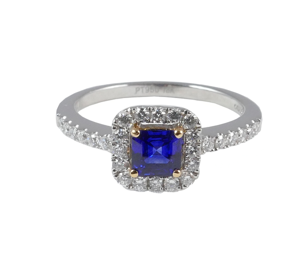 Platinum Set Diamond & Sapphire Ring, 0.63ct