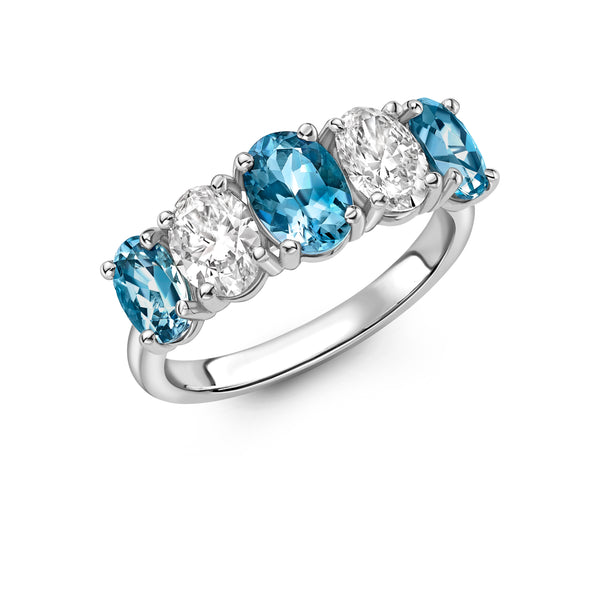 Platinum Aquamarine and Diamond Five Stone Oval Ring