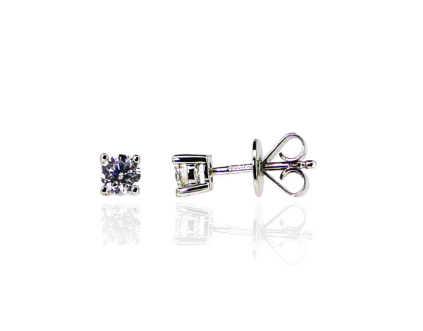 18ct White Gold Diamond Stud Earrings, 0.50ct