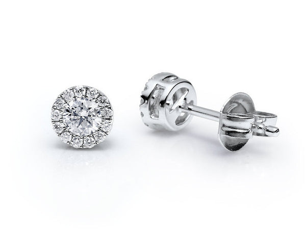 18ct White Gold Diamond Cluster Stud Earrings, 0.37ct