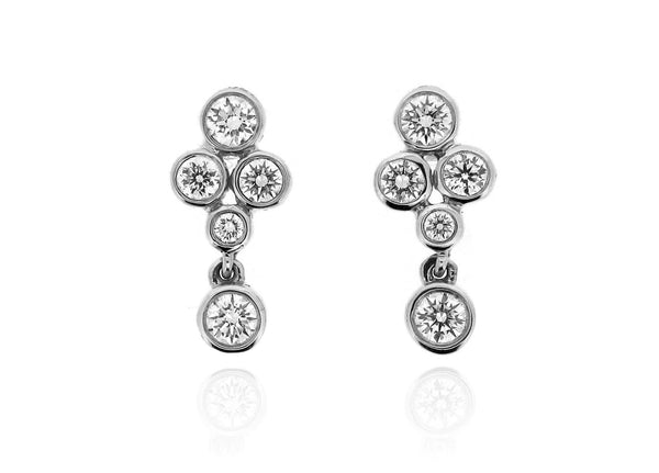 18ct White Gold Diamond Drop Stud Earrings, 0.50ct