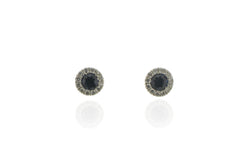 18ct White Gold Diamond & Sapphire Stud Earrings, 0.09ct