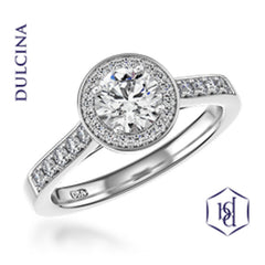 Dulcina Round Brilliant Cut Platinum Cluster Diamond Ring, 0.72ct