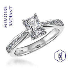 Memoire Radiant Cut Platinum Solitaire Diamond Ring, 0.81ct