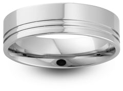 Double Offset Groove Wedding Band