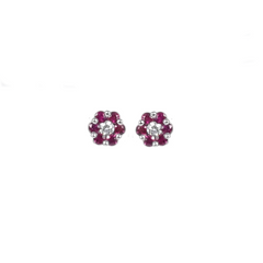 18ct White Gold Diamond & Ruby Stud Earrings