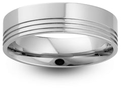 Triple Off Set Groove Wedding Band
