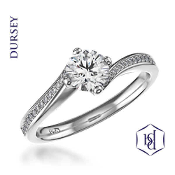 Dursey Round Brilliant Cut Platinum Solitaire Diamond Ring, 0.51ct