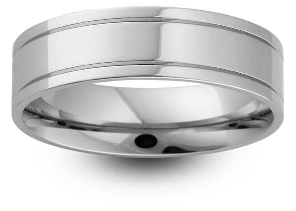 Offset Groove Wedding Band