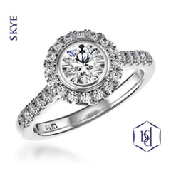 Skye Round Brilliant Cut Platinum Cluster Diamond Ring, 0.92ct