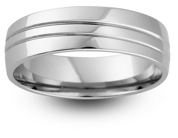 Double Off Centre Groove Wedding Band