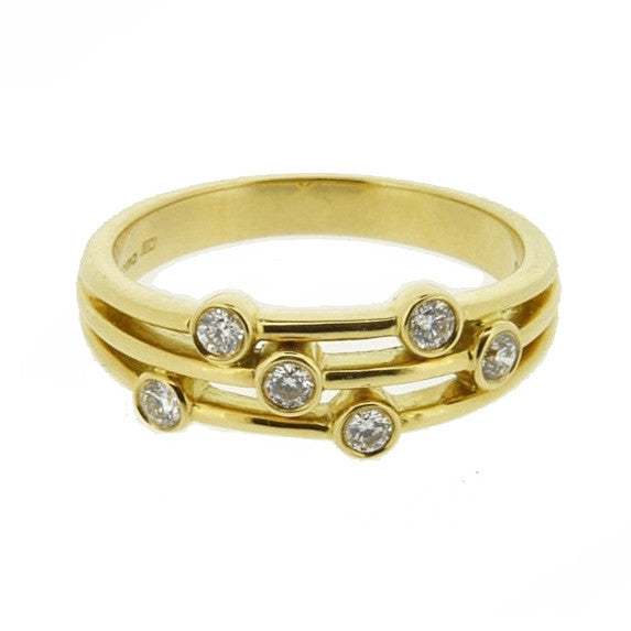 18ct Yellow Gold Scatter Diamond Ring, 0.20ct