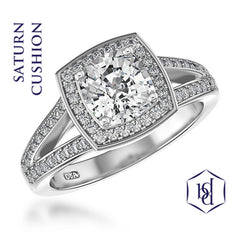 Saturn Cushion Cut Platinum Cluster Diamond Ring, 1.33cts