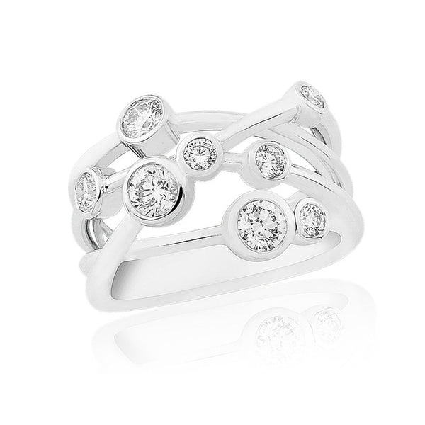 18ct White Gold & Diamond Scatter Ring, 0.74ct
