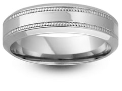 Chamfered Edge Double Milgrain Border Wedding Ring