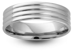 Ribbed Pattern Wedding Band