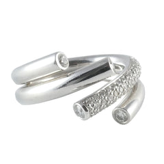 18ct White Gold Diamond Twist Ring, 0.70ct