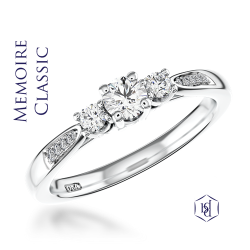 Memoire Classic Round Brilliant Cut Platinum Three Stone Diamond Ring, 0.34ct