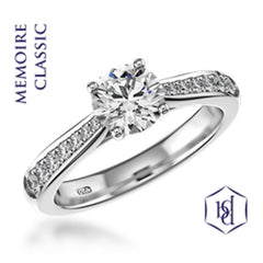 Memoire Classic Round Brilliant Cut Platinum Solitaire Diamond Ring, 0.23ct