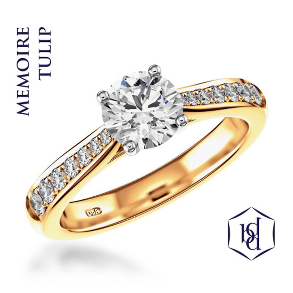 Memoire Tulip Round Brilliant Cut 18ct Yellow Gold Solitaire Diamond Ring, 0.60ct
