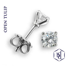Open Tulip Platinum Set Diamond Stud Earrings, 0.60ct