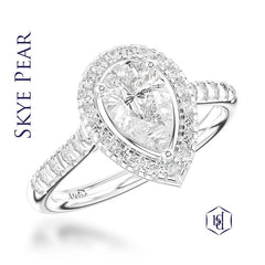 Skye Pear Shape Cut Platinum Cluster Diamond Ring, 0.72ct