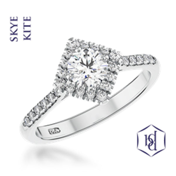 Skye Kite Round Brilliant Cut Platinum Cluster Diamond Ring, 0.53ct