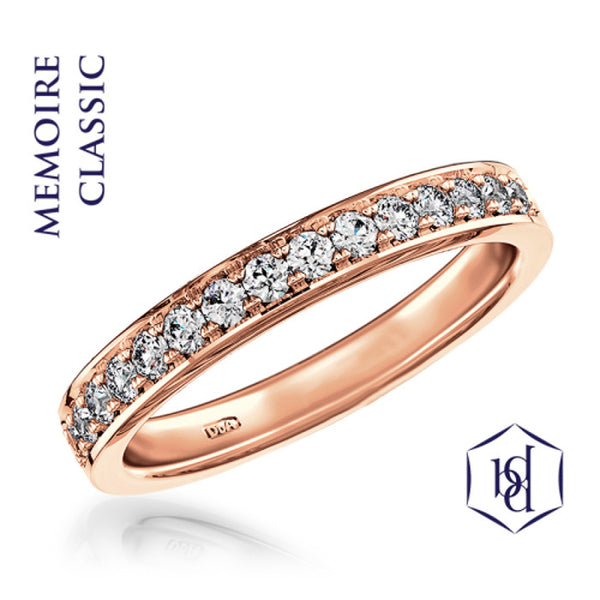 Memoire Classic 18ct Rose Gold Round Brilliant Cut Diamond Ring, 0.15ct