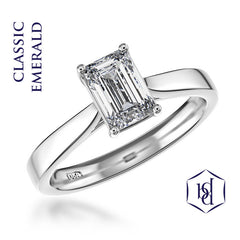 Classic Emerald Emerald Cut Platinum Solitaire Ring, 0.50ct
